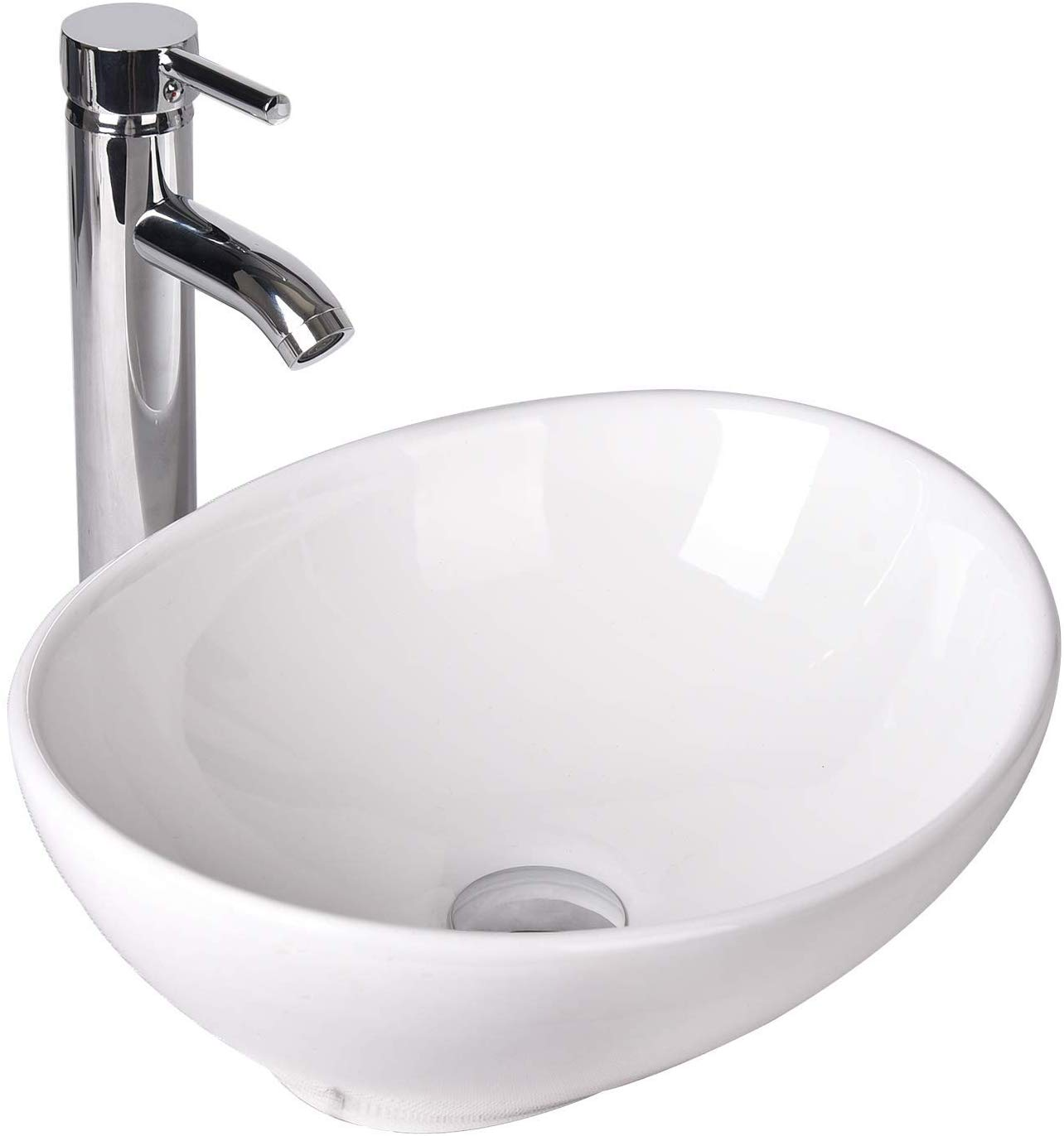 elecwish oval ceramics vessel sink and faucet combo white countertop basin bathroom vanity utility sink
