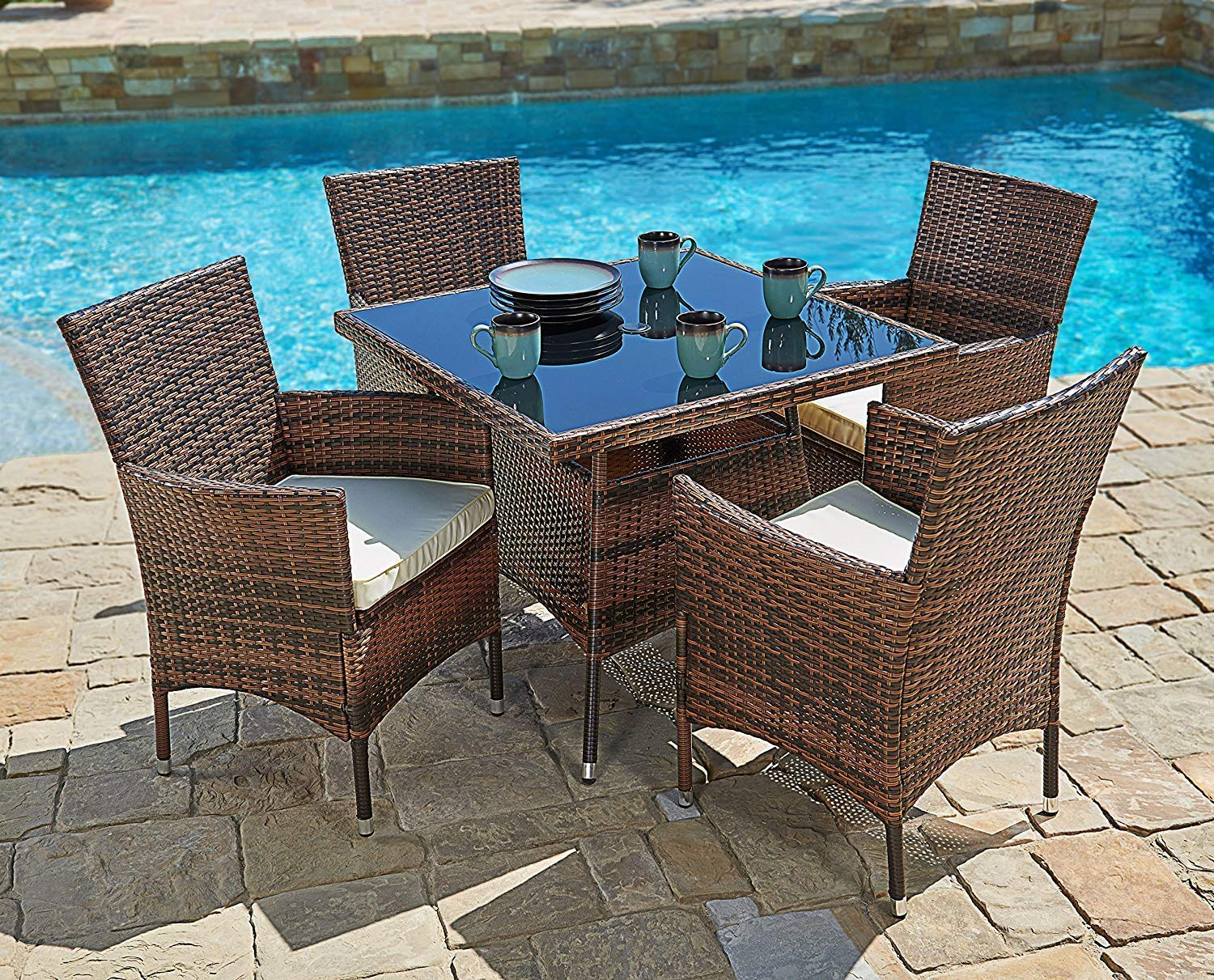 suncrown outdoor furniture all weather square wicker dining table and chairs 5 piece set washable cushions patio backyard porch garden