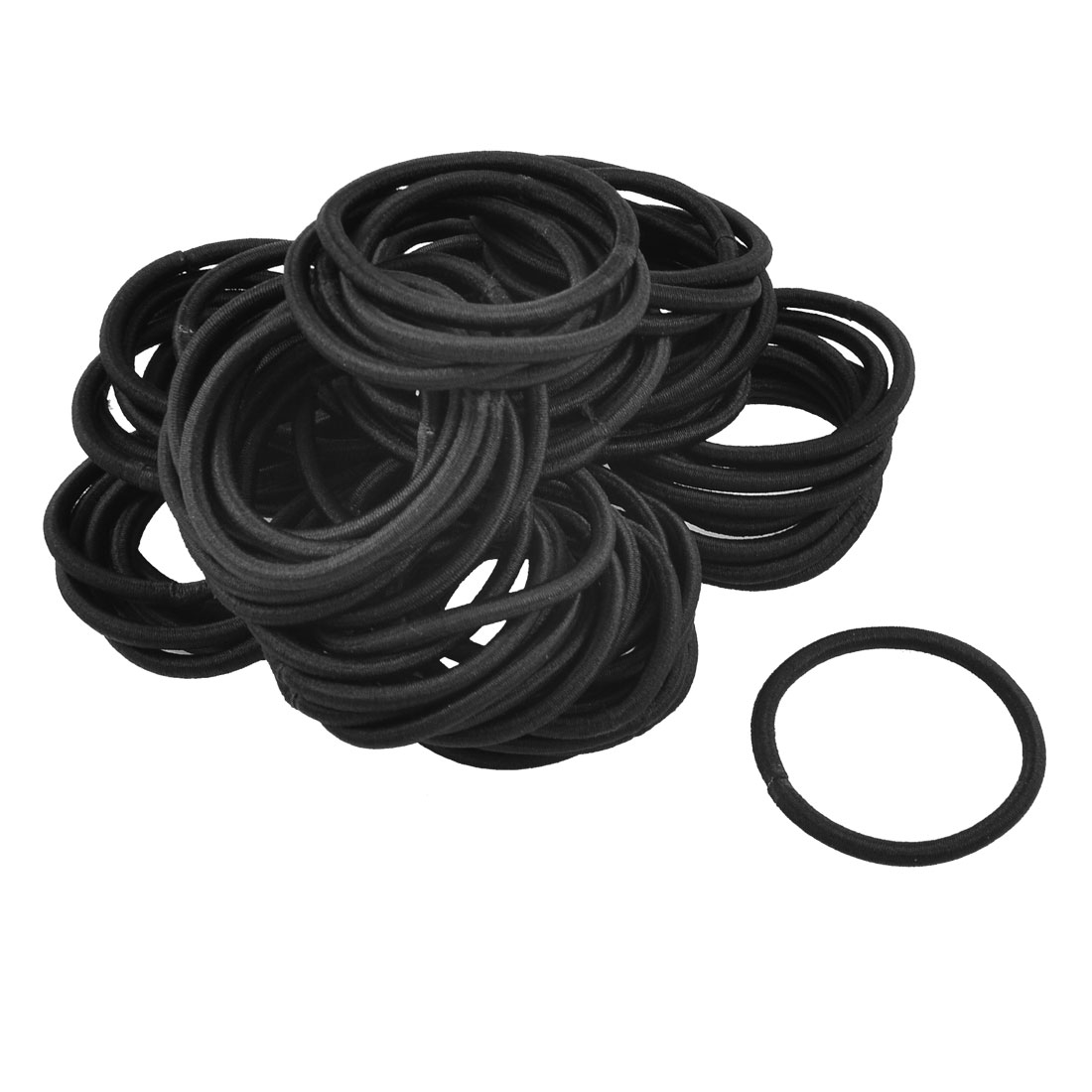 80 Pcs Black Elastic Rubber Hair Band Ponytail Holders For Lady