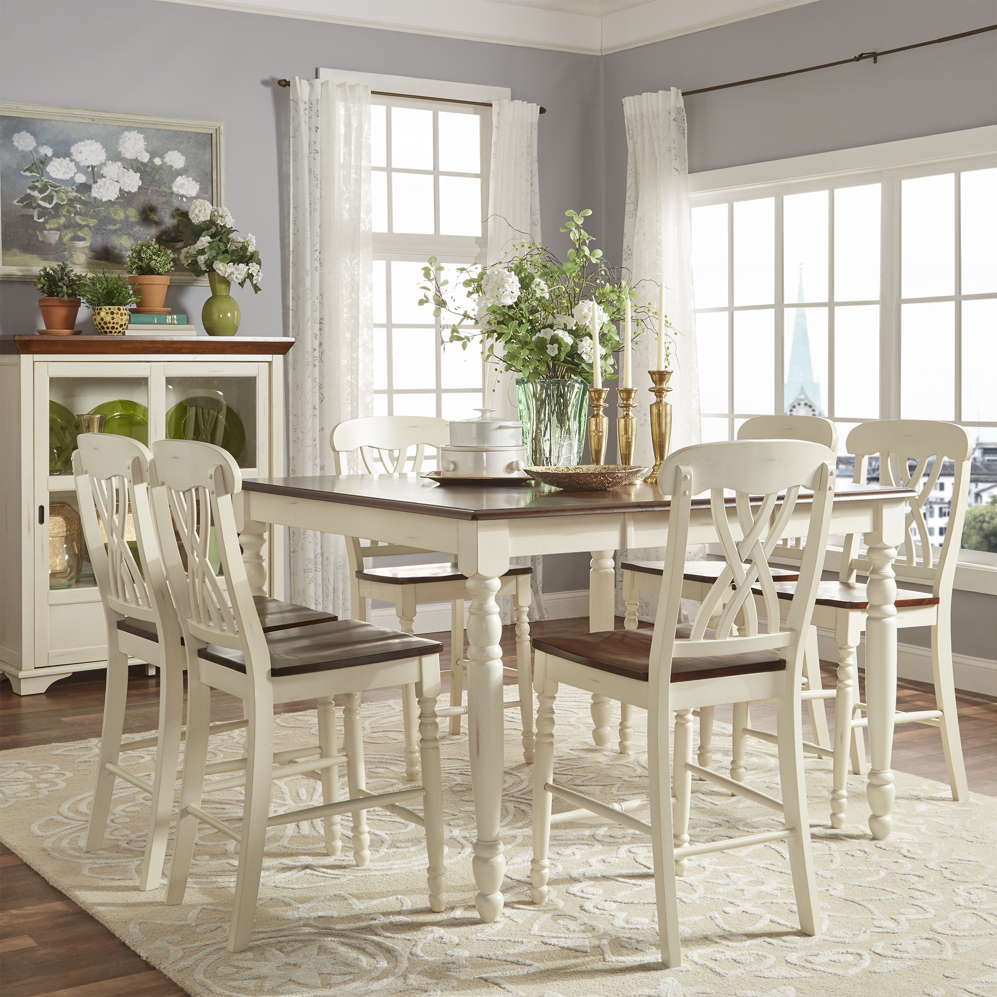 antique white dining chairs chair covers to buy cape town weston home two tone 7 piece counter height set walmart com
