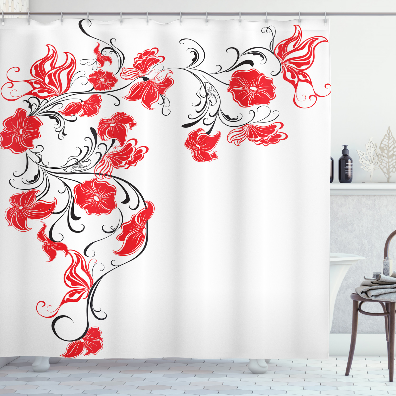 red and black shower curtain japanese asian design flowers swirls ivy and leaves butterflies image fabric bathroom set with hooks scarlet and