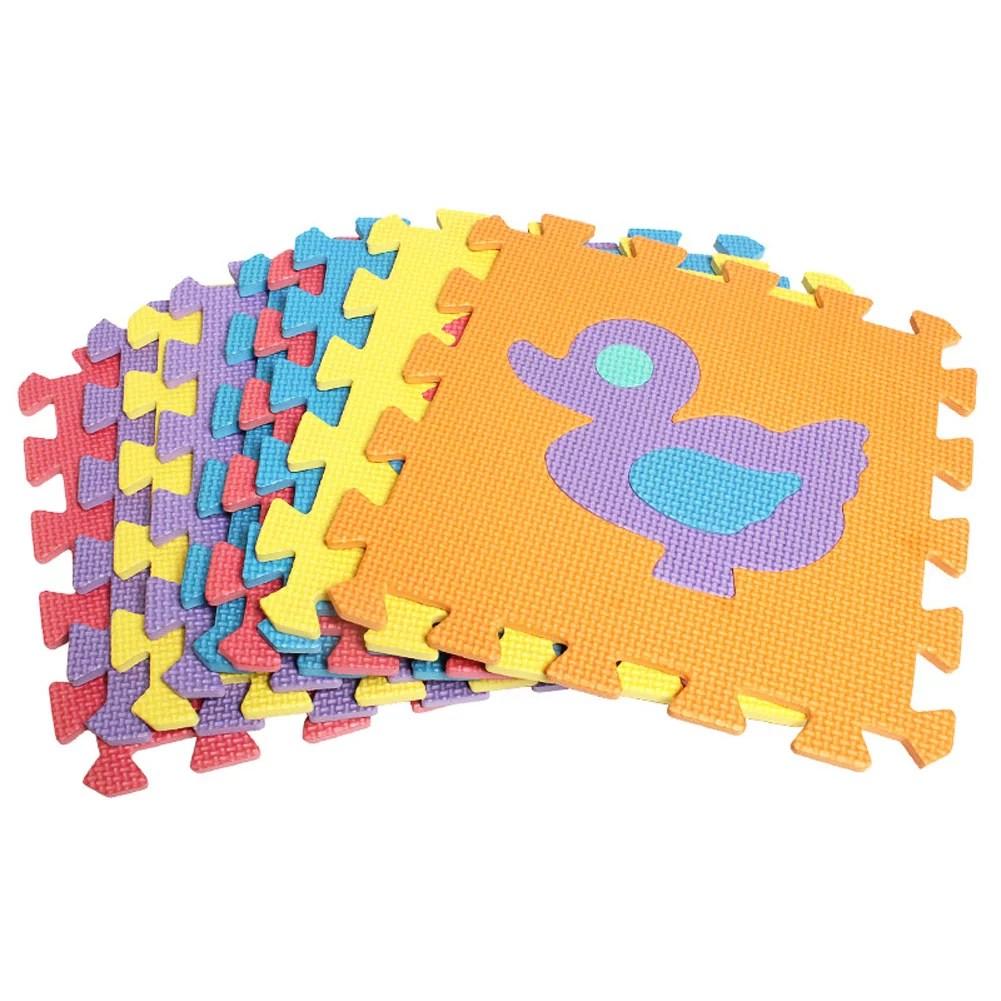 10 pcs animal motif mousse puzzle enfants tapis tapis split joint eva bebe tapis de jeu interieur doux activite puzzle tapis
