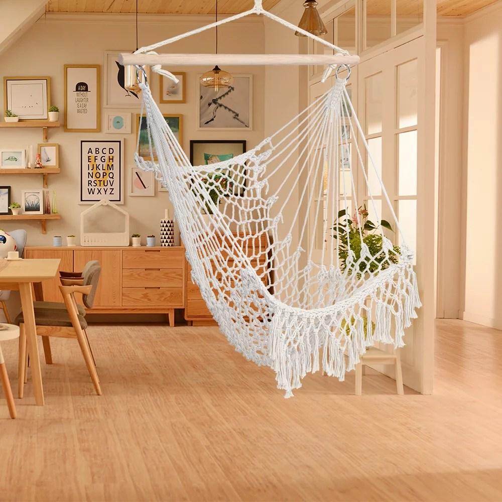 hammock chair swing hanging rope seat net chair tree outdoor porch patio indoor