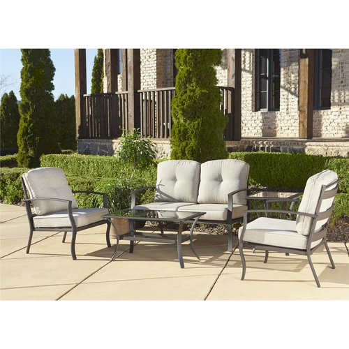 cosco cosco outdoor 5 piece serene ridge aluminum patio furniture conversation set with cushions and coffee table dark brown from walmart