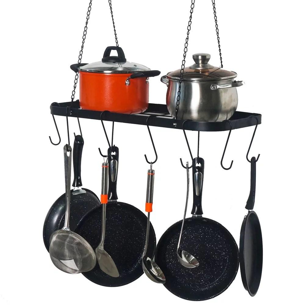 pot rack ceiling mount cookware rack hanging hanger organizer with hooks