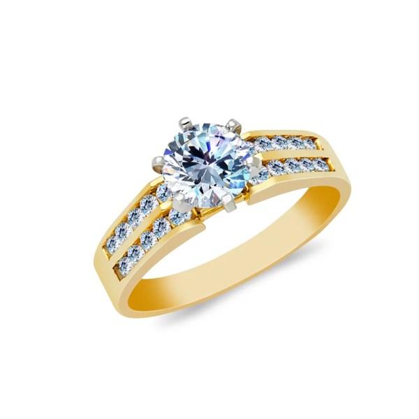 Ioka - 14k Yellow Solid Gold 1 Ct. Cut Cubic Zirconia Cz Wedding Engagement Ring Size 6