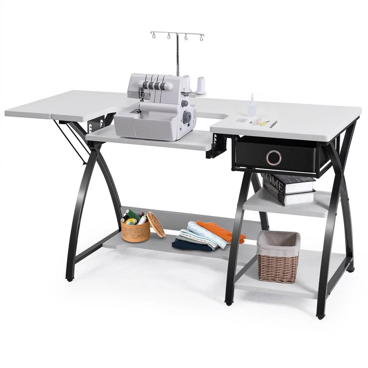 Costway Sewing Craft Table Folding Computer Desk Adjustable Platform W Drawer Shleves Walmart Com Walmart Com