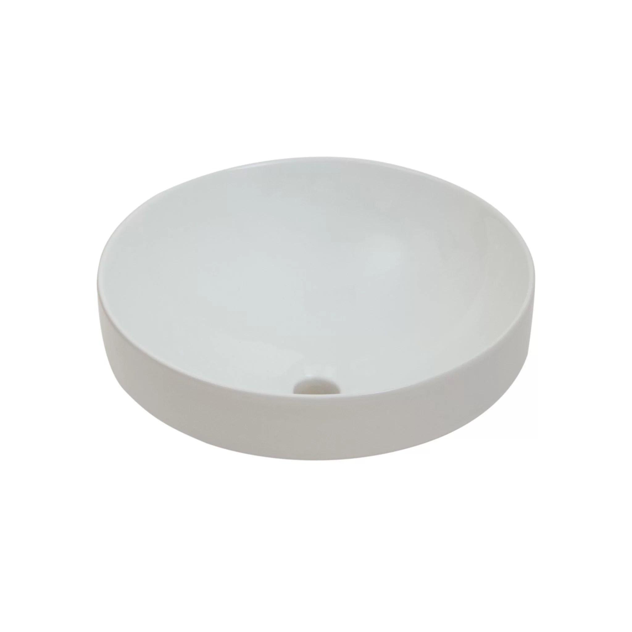 foremost white fireclay round semi recessed vessel sink walmart com
