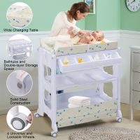 Costway Baby Infant Bath Changing Table Diaper Station ...