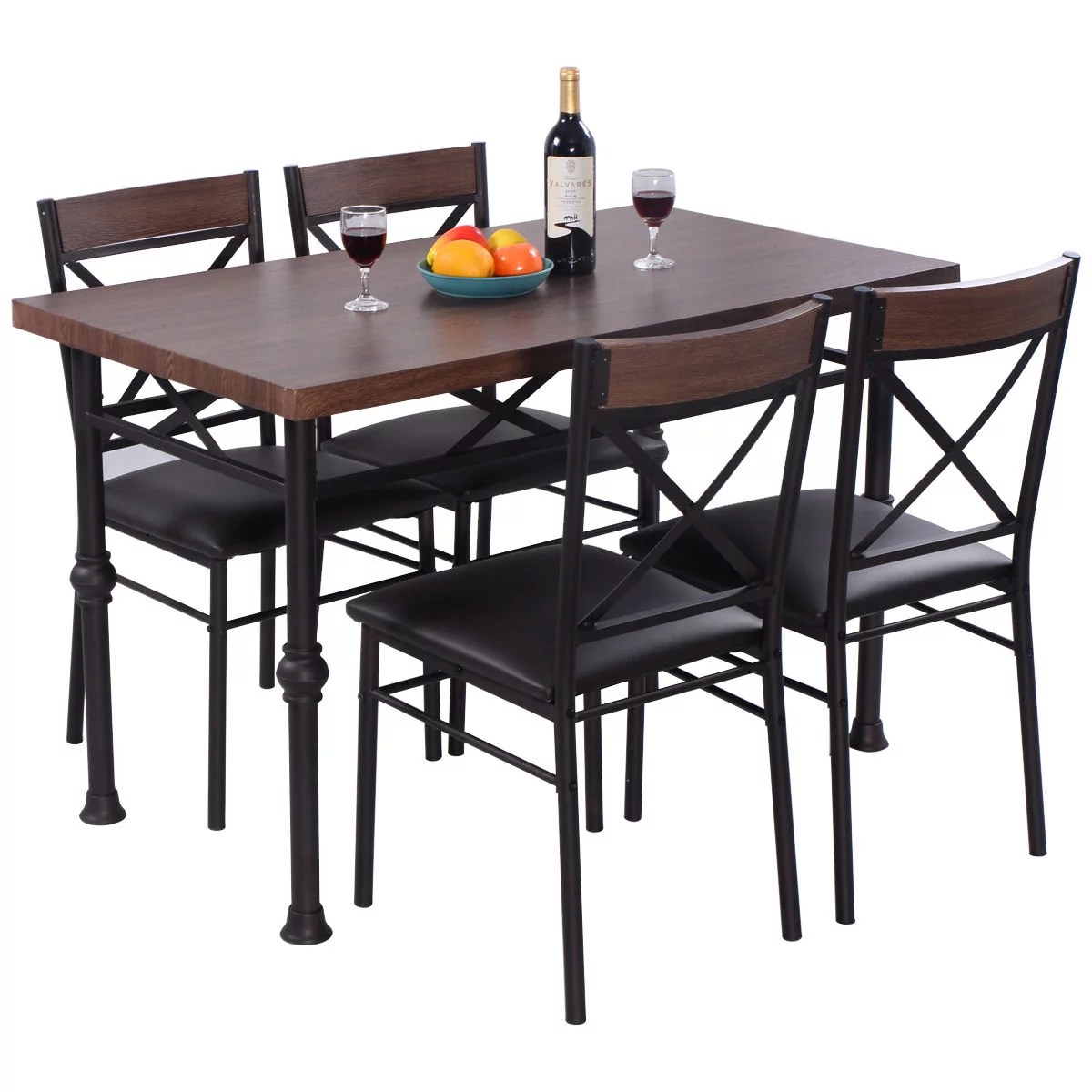 Wood And Metal Dining Chairs Costway 5 Piece Dining Set Table And 4 Chairs Wood Metal