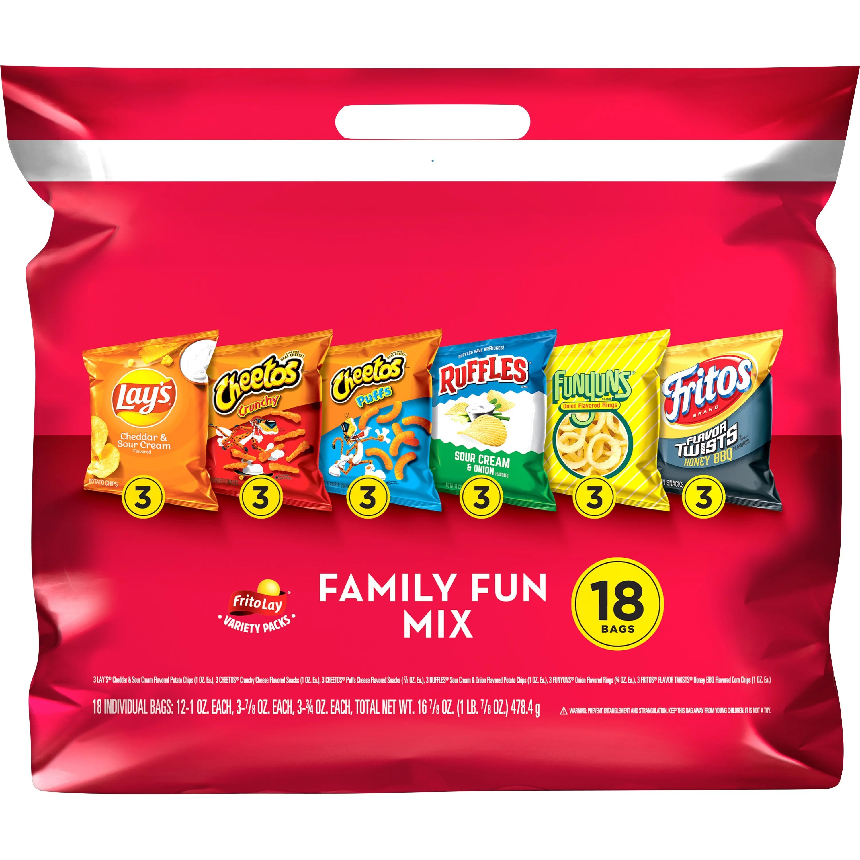 Frito Lay Family Fun Mix Snacks Variety Pack, 18 bags