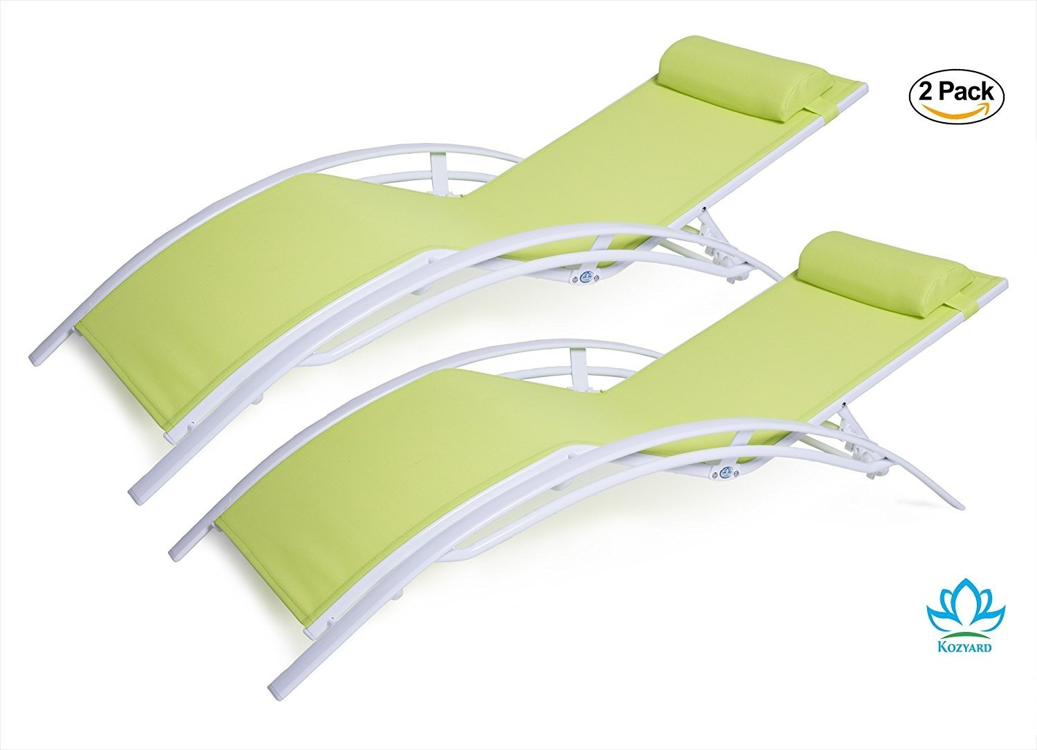 Sunbathing Chairs Kozyard Kozylounge Elegant Patio Reclining Adjustable Chaise Lounge Aluminum And Textilene Sunbathing Chair For All Weather With Headrest 2 Pack