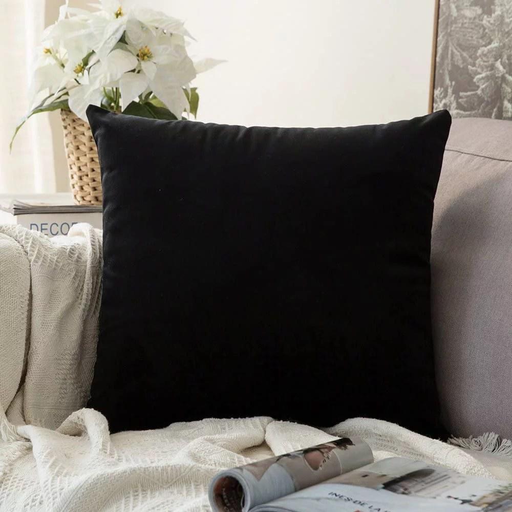 decorx velvet pillow covers decorative square pillowcase soft soild black cushion case for sofa bedroom car 22 x 22 inch 55 x 55 cm
