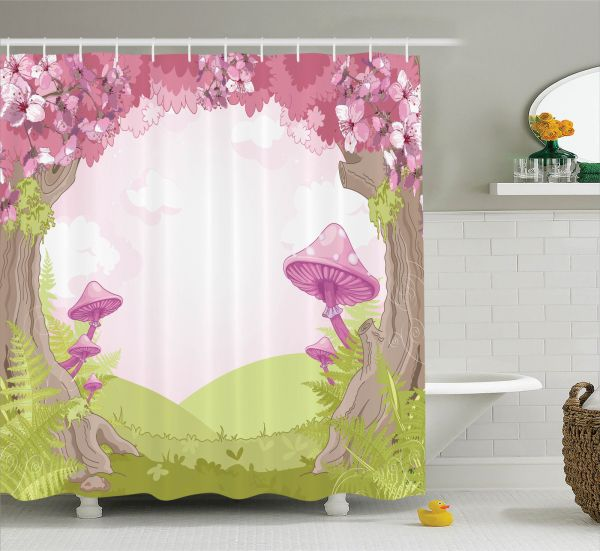 Mushroom Decor Shower Curtain Set Cherry Blossom Trees In