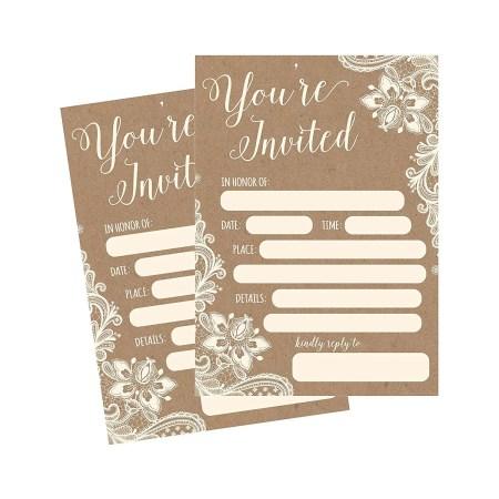 50 Fill In Invitations Burlap And Lace Kraft Wedding Bridal Shower Rehearsal Dinner Invites Baby Invite