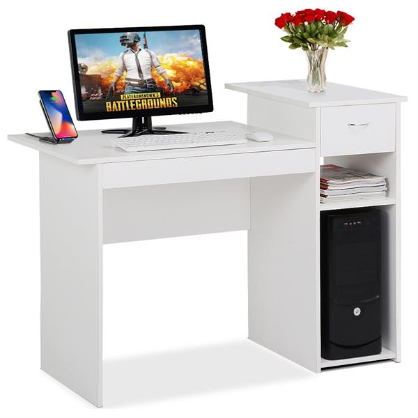 Yaheetech Modern Compact Computer Desk Study Writing Table Workstation With Drawers And Printer Shelf For Small Spaces Home Office Furniture Walmart Canada