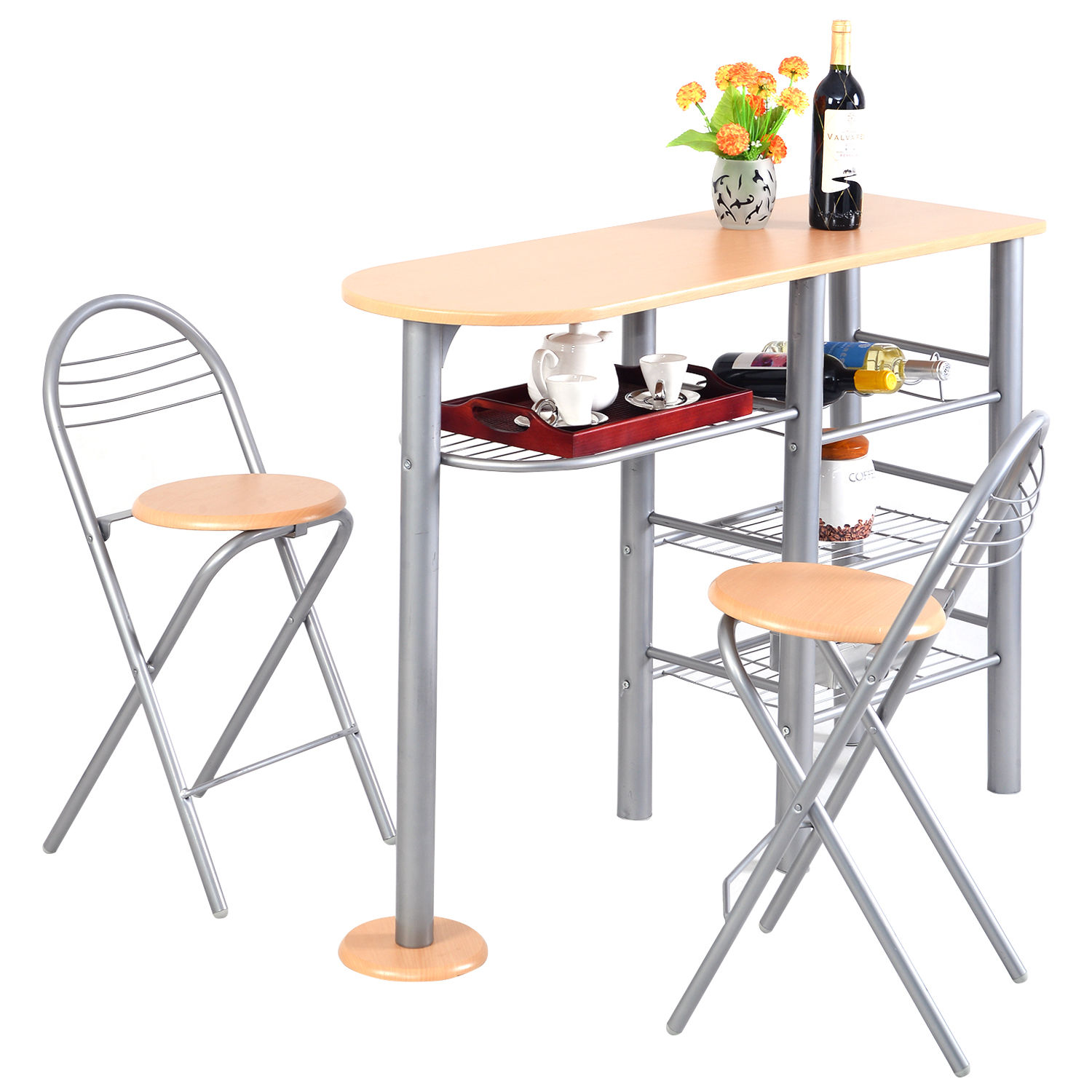3 piece table and chair set ergonomic mumbai costway pub dining counter height chairs breakfast kitchen walmart com