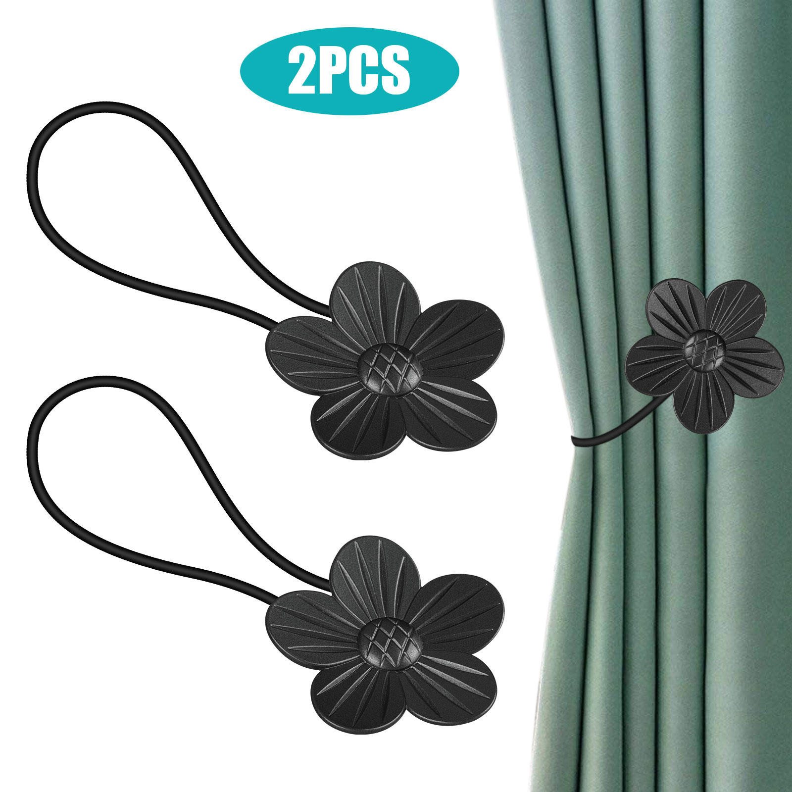 tsv 6 4 2pcs magnetic curtain tieback decorative rope holdback simple modern tie backs holders for home curtains 15 7 inch long plum blossom shape