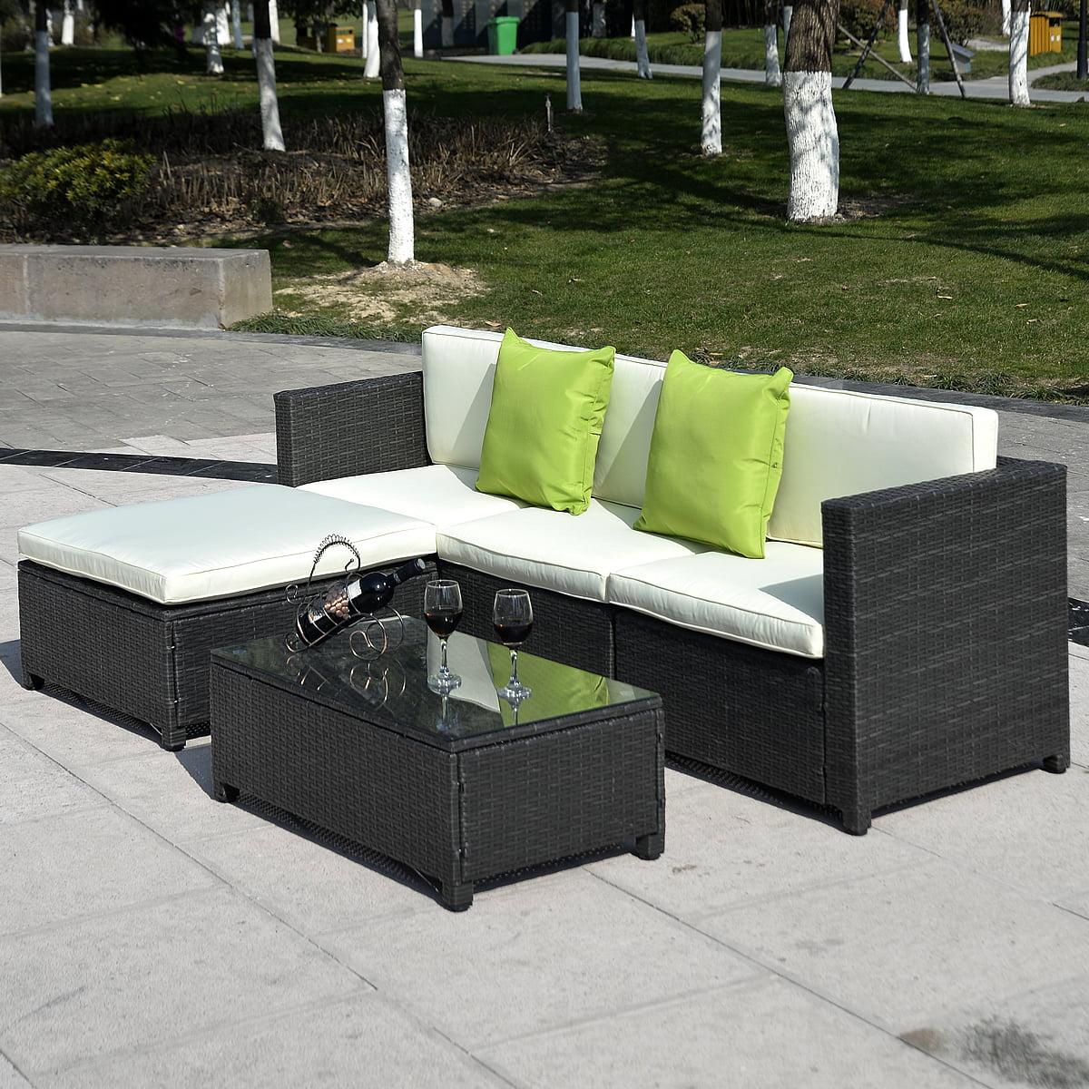 black outdoor sofa rv jack knife cover rattan set with corner