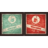 "Framed Graphic ""Coffee"" Wall Art, Espresso Frame, Set of 2 ..."