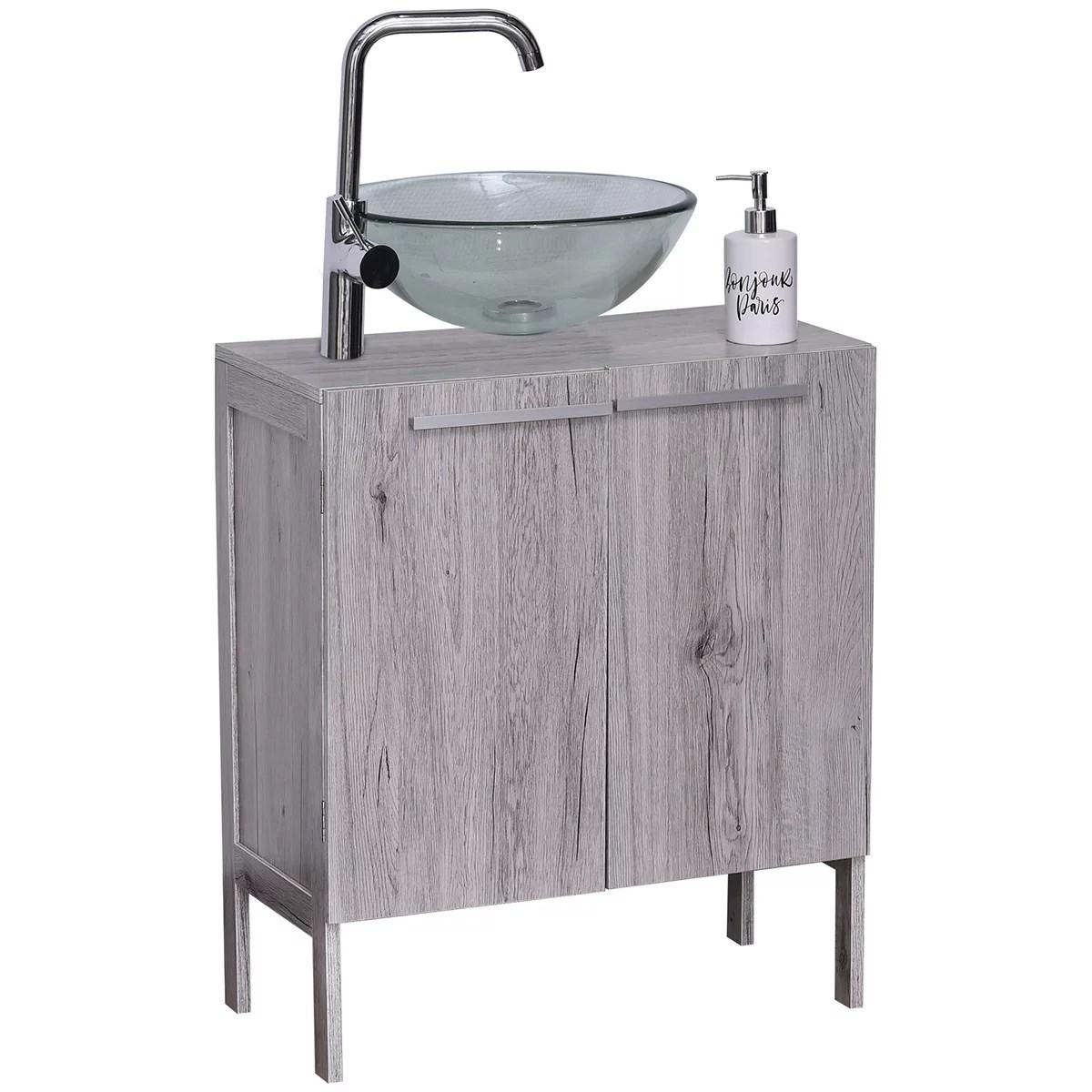 non pedestal under sink storage vanity cabinet oslo 2 doors washed gray oak