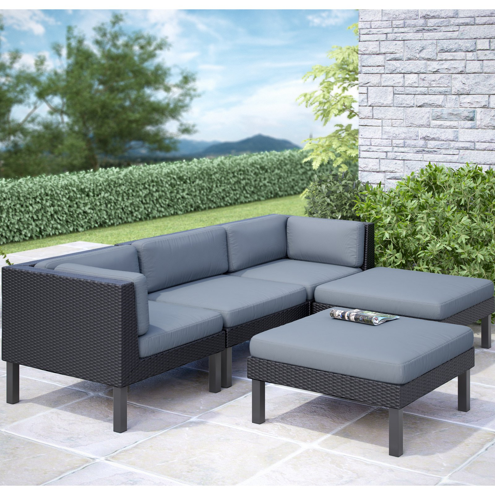 sofa lounger outdoor belize all weather wicker corliving oakland 5pc with chaise lounge patio set dove grey cushions walmart com