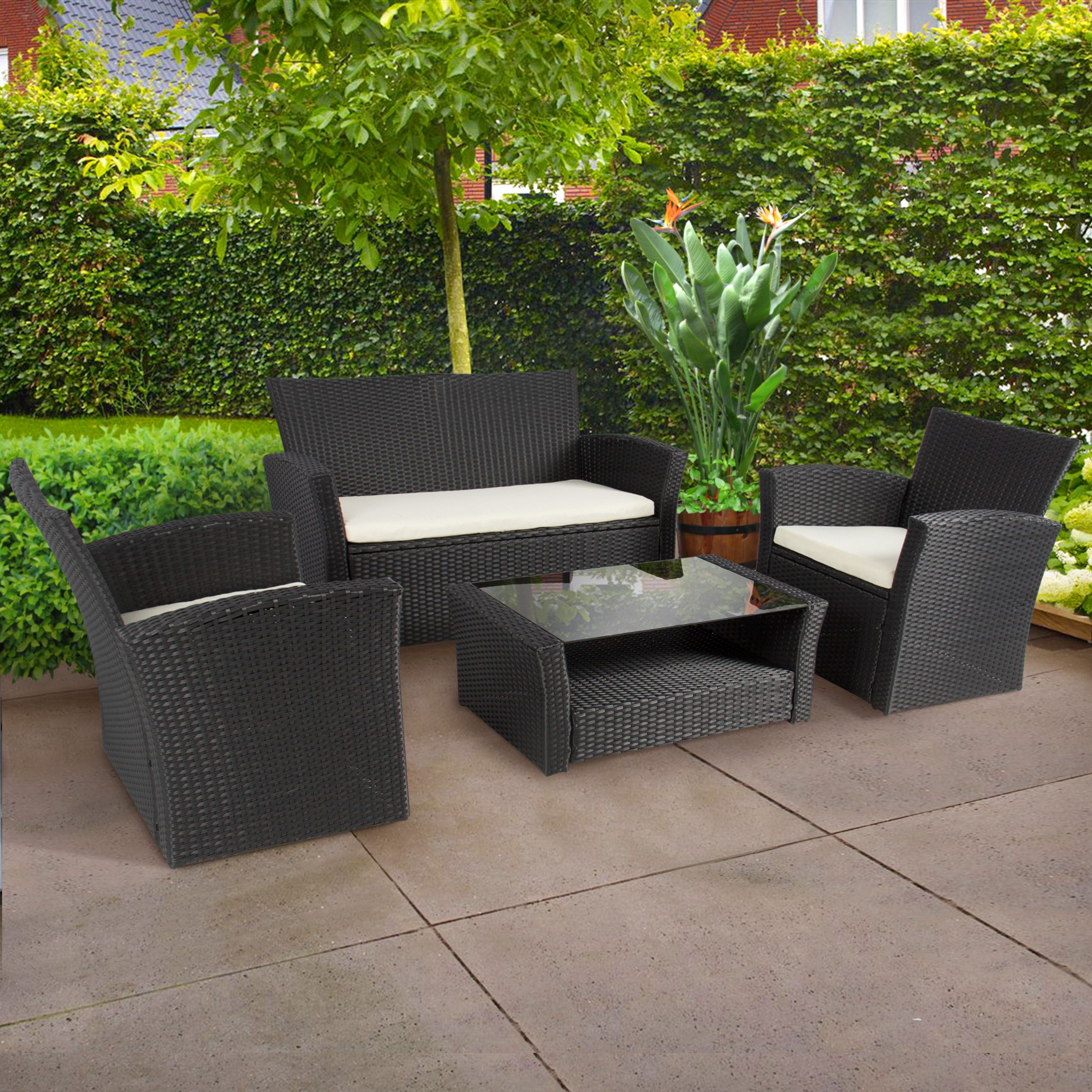 Rattan Outdoor Chairs 4pc Outdoor Patio Garden Furniture Wicker Rattan Sofa Set