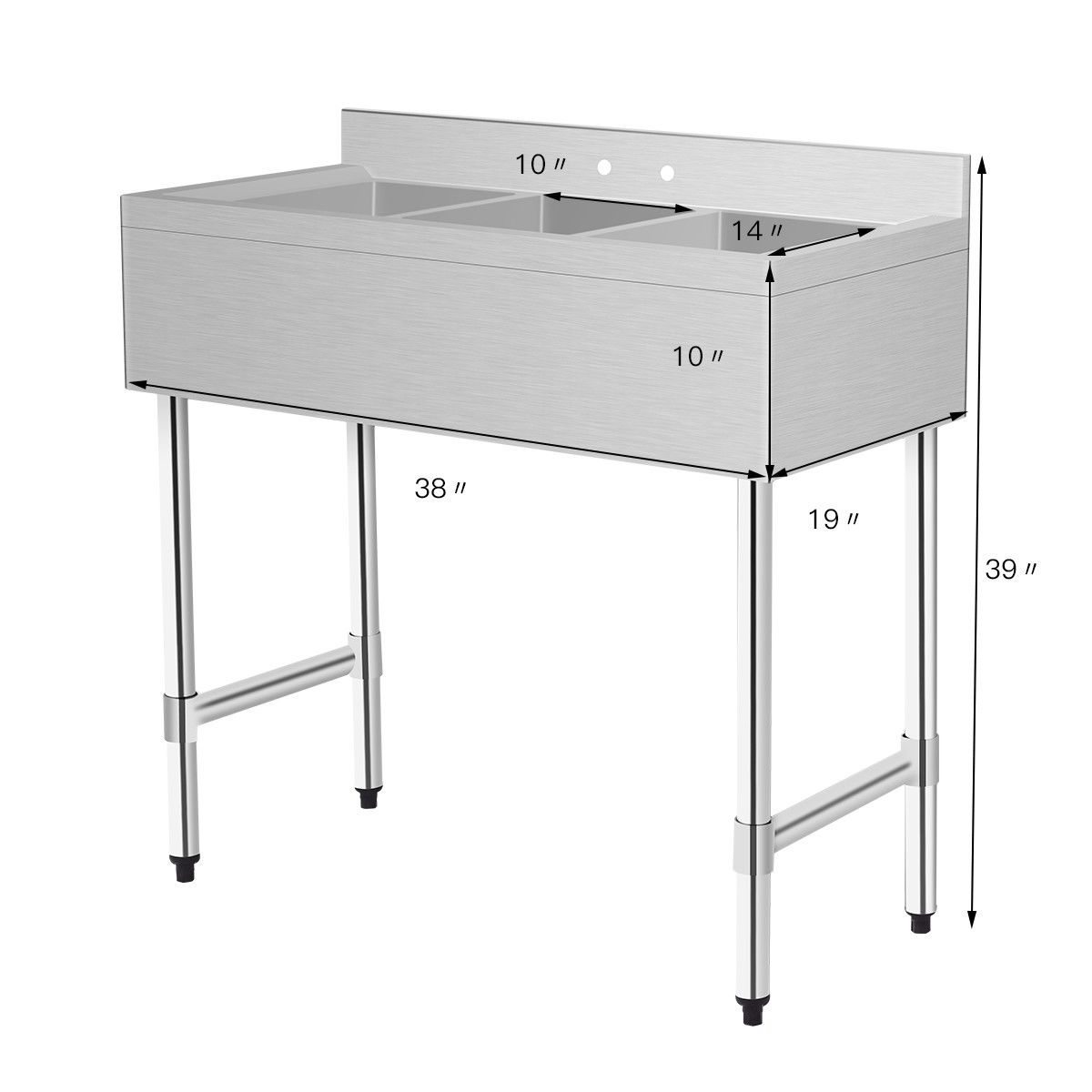 costway 3 compartment stainless steel kitchen commercial sink heavy duty