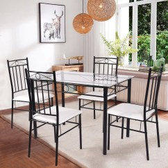 Dining Table With Metal Chairs Garden For Sale Costway 5 Piece Set Glass And 4 Kitchen Breakfast Furniture Walmart Com