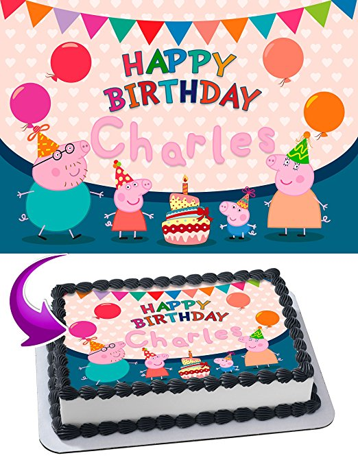 Peppa Pig Mummy Pig Daddy Pig George Pig Birthday Cake Personalized Cake Toppers Edible Frosting Photo Icing Sugar Paper A4 Sheet 14 Edible Image