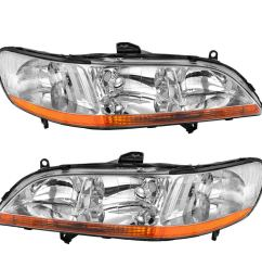 headlight assembly for 1998 1999 2000 2001 2002 honda accord headlamp replacement chrome housing amber reflector one year warranty passenger and driver  [ 1100 x 1100 Pixel ]