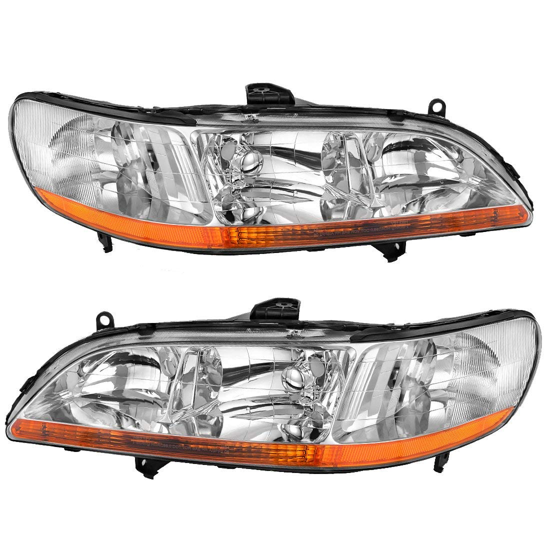 hight resolution of headlight assembly for 1998 1999 2000 2001 2002 honda accord headlamp replacement chrome housing amber reflector one year warranty passenger and driver