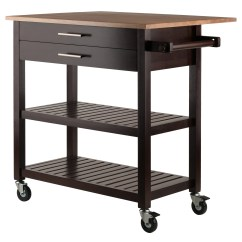 Drop Leaf Kitchen Cart Black Slate Floor Tiles Winsome Wood Langdon Cappuccino W Natural Walmart Com