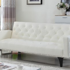 White Tufted Sofa Bed Cama Abatible Horizontal Leather Futon Roselawnlutheran