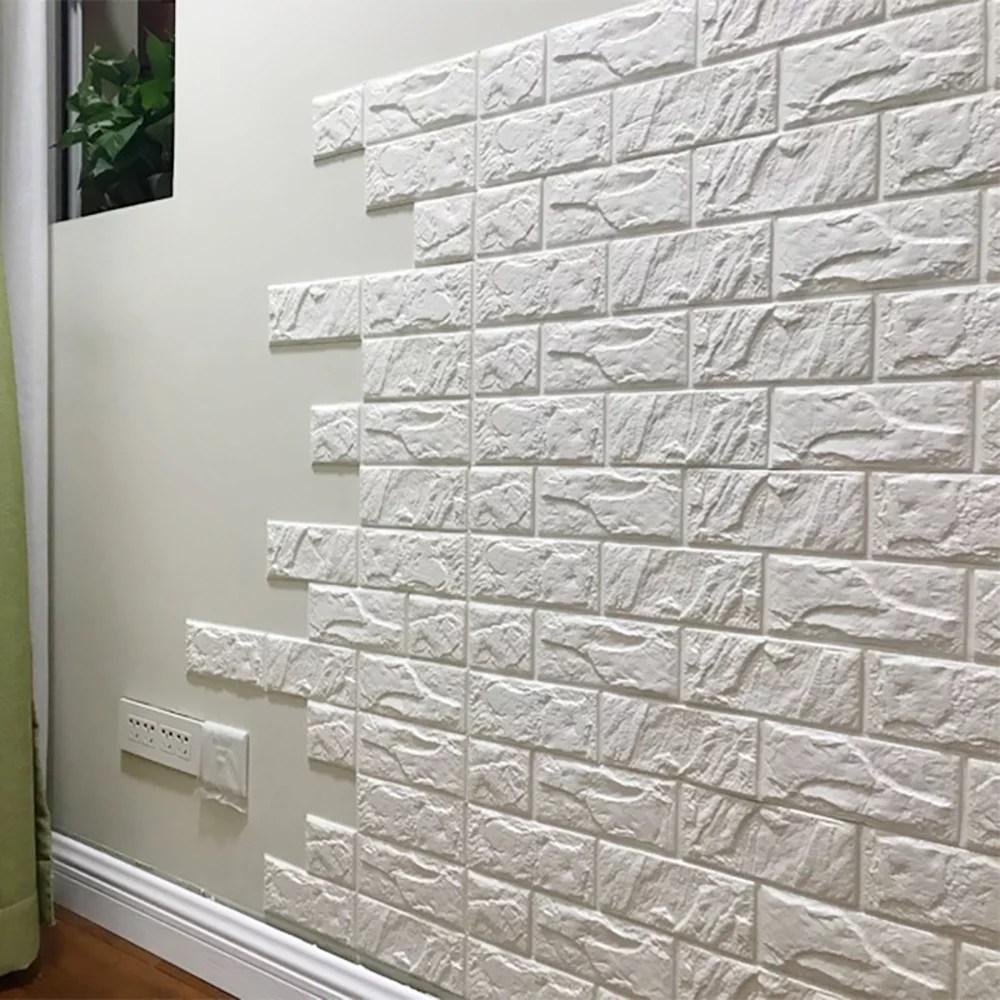 30 X 27 Wallpaper 3d Faux Brick Wallpaper White