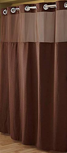 hookless r 54 inch x 80 inch fabric shower curtain in chocolate waffle