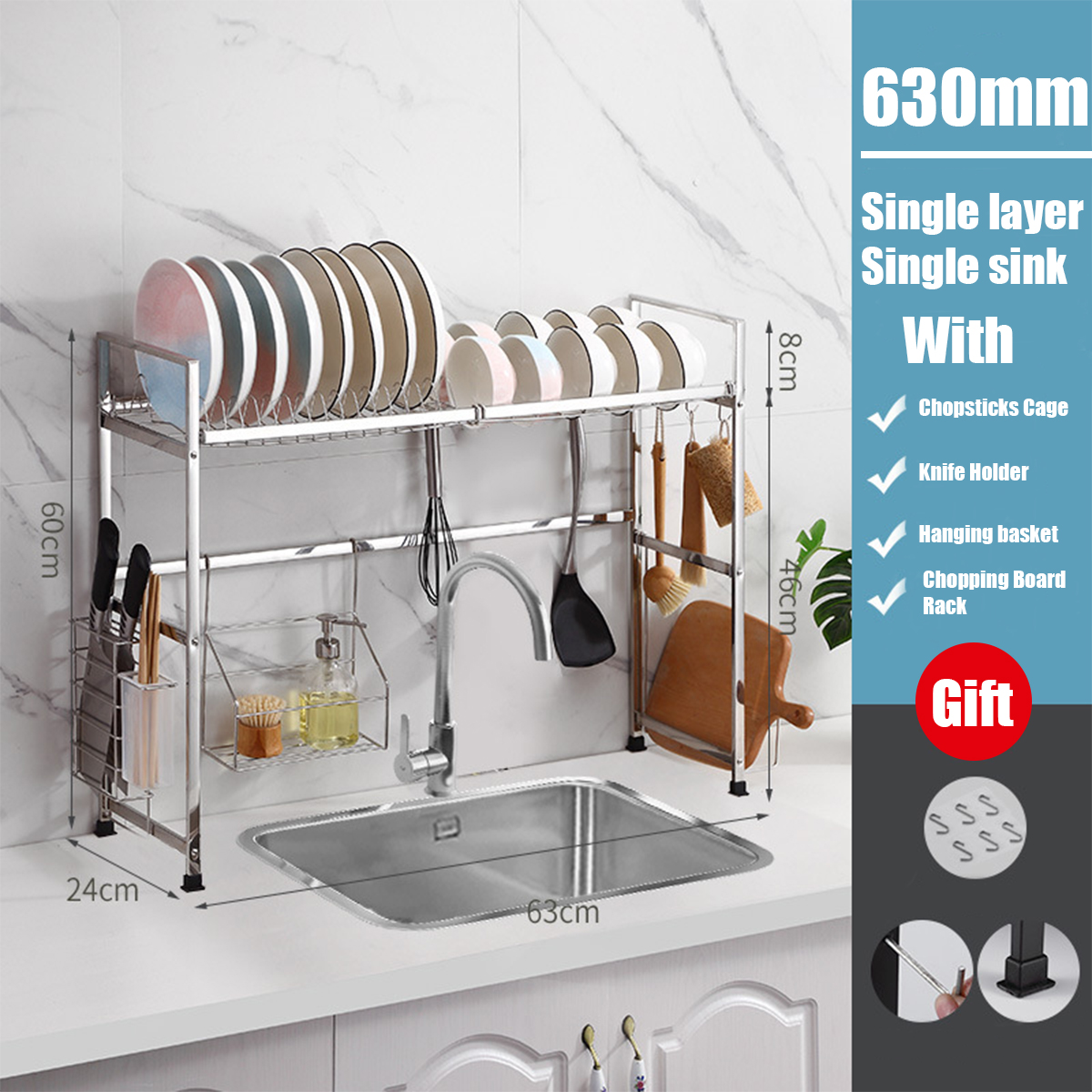 dish drying rack over the sink large dish rack drainer for kitchen organization storage space saver shelf holder with 6 utility hooks dish rack over