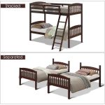 Costway Wood Solid Hardwood Twin Bunk Beds Detachable Safety Rail Walmart Com Walmart Com