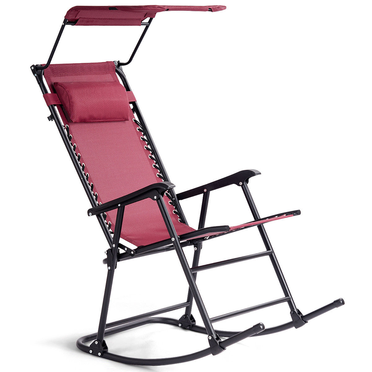 Soft Folding Chairs Ghp Red Fabric Folding Rocking Porch Chair Seat With