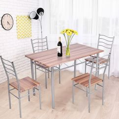 Kitchen Dining Chairs White Kitchens Cabinets Gymax 5 Piece Set Beech Wooden Color Table And 4 Qty