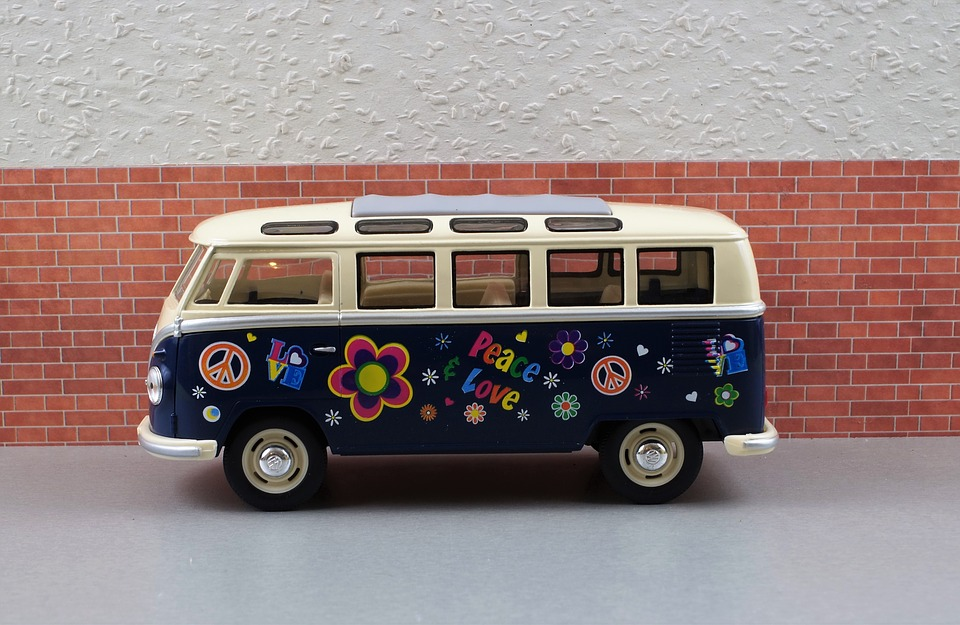 canvas print camping bus