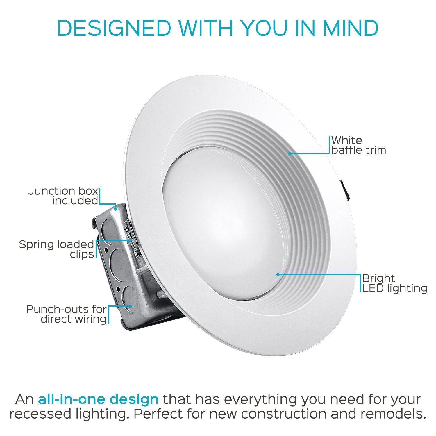 hight resolution of luxrite 8 inch led recessed lighting kit with junction box 25w 5000k bright white dimmable led downlight 2000lm 120v 277v airtight ic rated