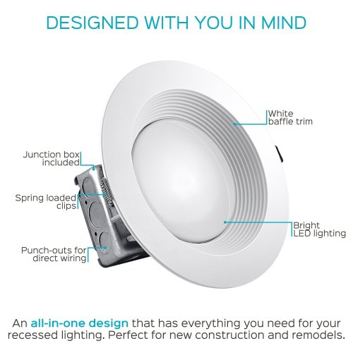 small resolution of luxrite 8 inch led recessed lighting kit with junction box 25w 5000k bright white dimmable led downlight 2000lm 120v 277v airtight ic rated