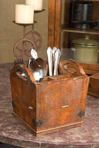 Vintage Style Wooden Cutlery Silverware Holder - Walmart.com