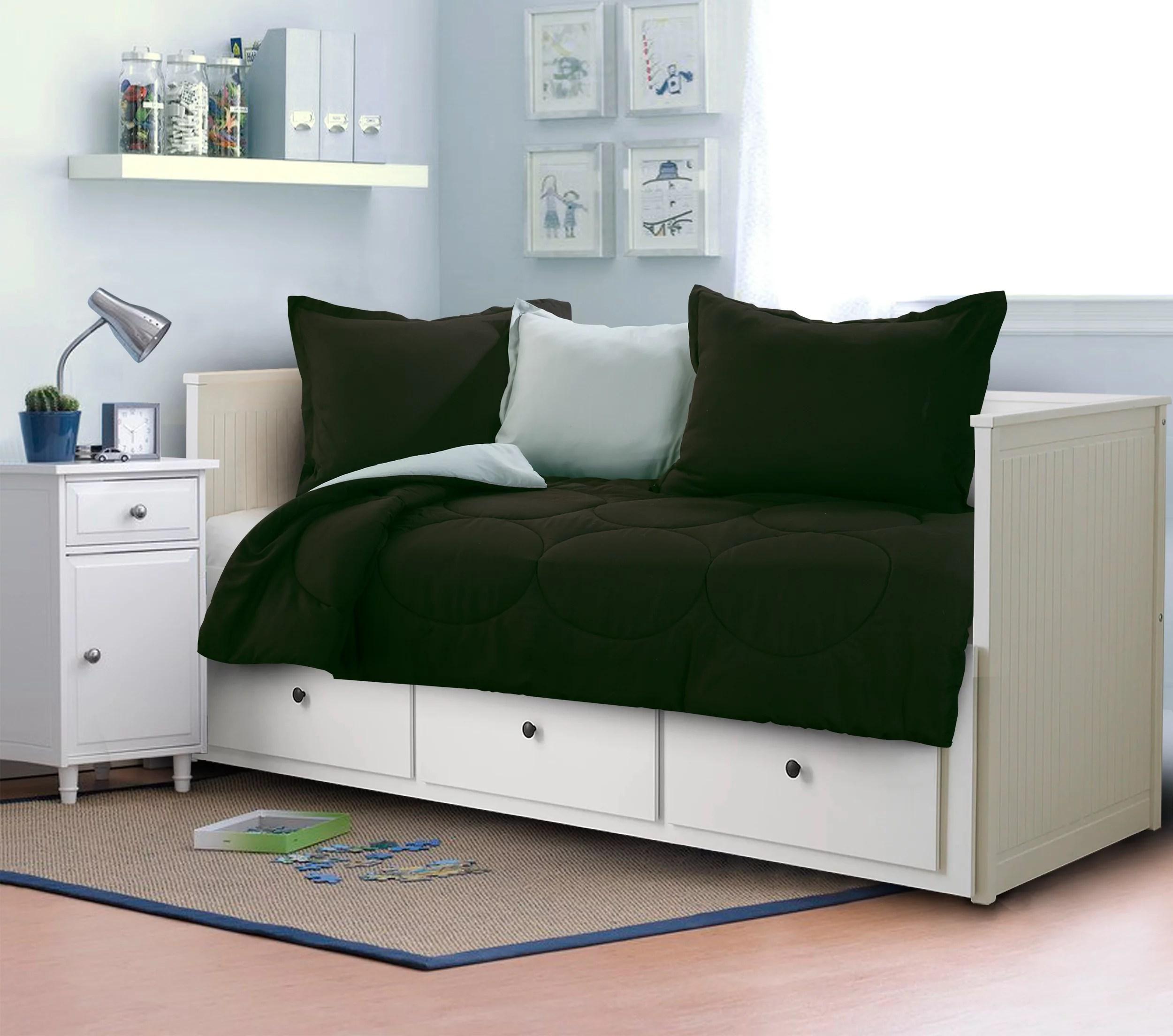 mainstays kids solid reversible daybed comforter set black gray