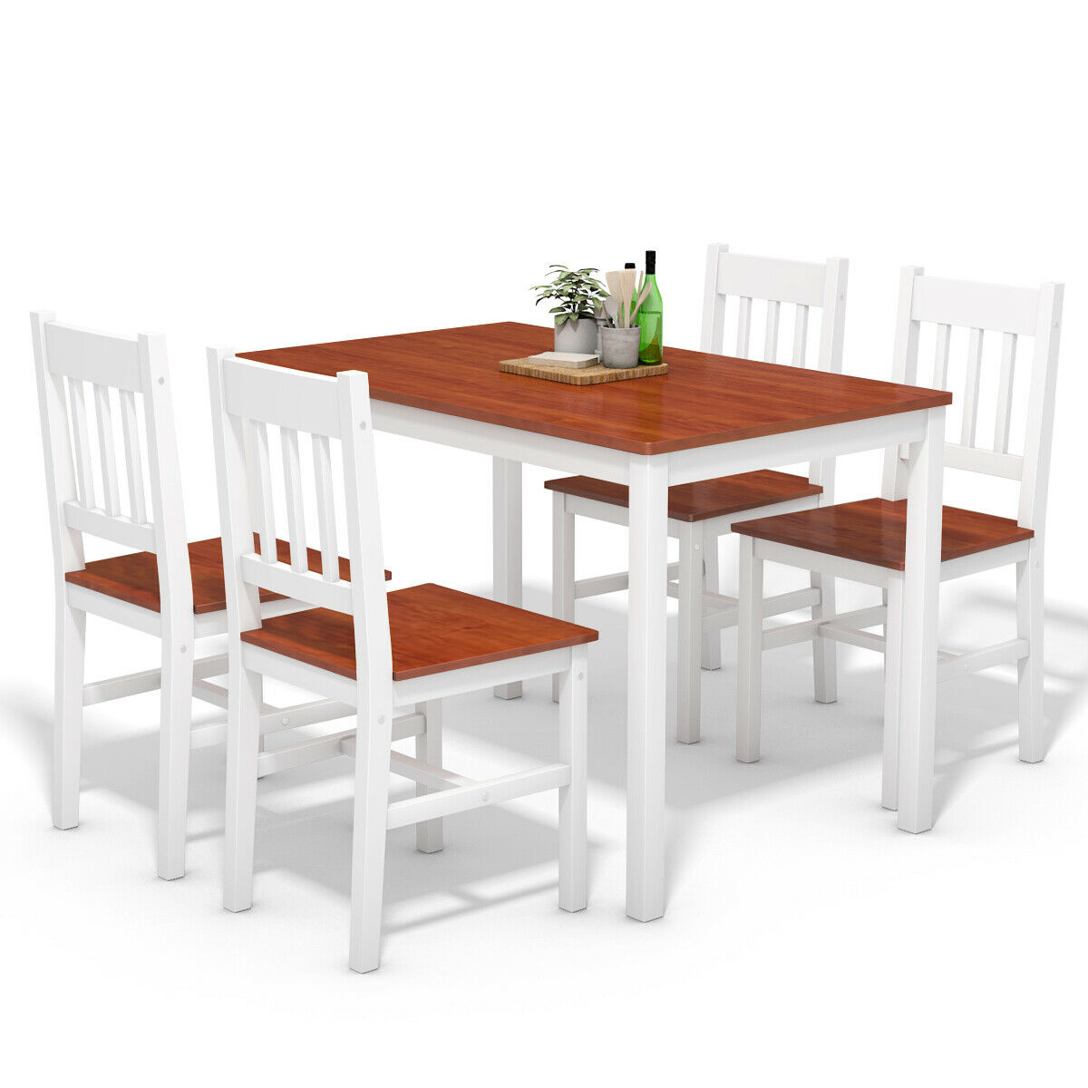 Kitchen Chairs Wood Gymax 5 Piece Dining Table Set 4 Chairs Solid Wood Home Kitchen Breakfast Furniture