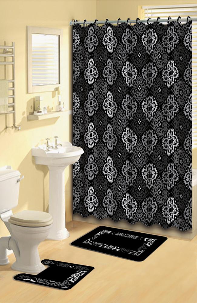 home dynamix bath boutique shower curtain and bath rug set 1574 480 black gray 15 piece bath set