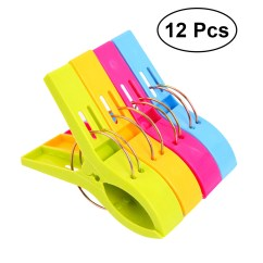 Chair Clips For Beach Towels Revolving Legs 12pcs Plastic Towel Bright Color Jumbo Size Pool Loungers Walmart Com