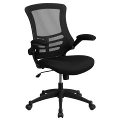 Black Computer Chair Bedroom Sydney Flash Furniture Mid Back Mesh Swivel Task Office With Padded Seat And Flip Up Arms Walmart Com