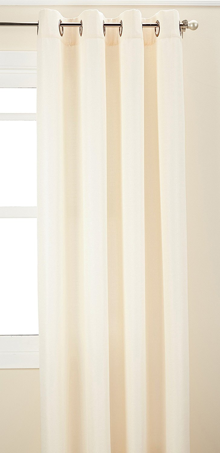 monterey grommet curtain panel 52 by 95 alabaster lined grommet topped panel is constructed of textured bark cloth fabric by curtainworks ship